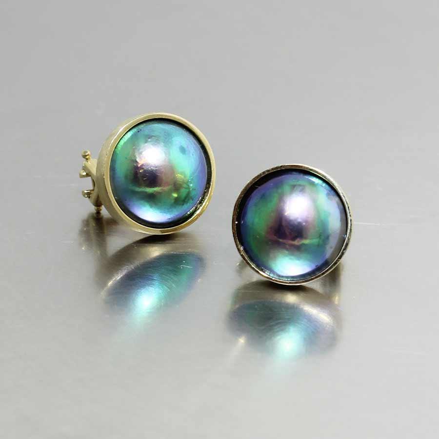 Bezel-Set Abalone Pearl Studs, 18KY