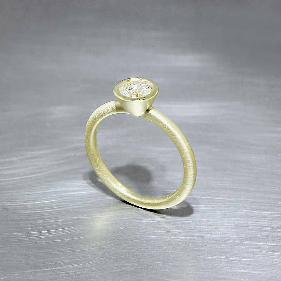Stackable 0.80ct Diamond Solitaire, Matte-Finished 18KY
