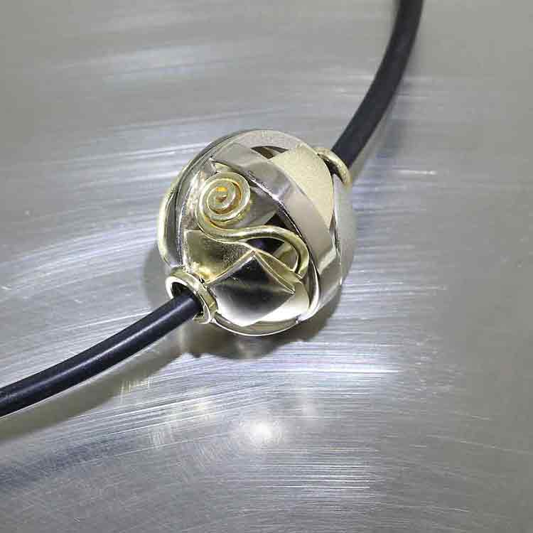 Modern, Sculptural Wire & Sheet Sphere Pendant, 18KY & 14KW