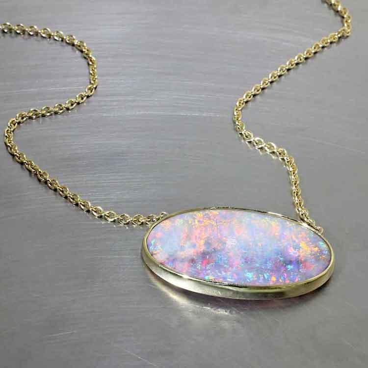 Crystal Opal Cabochon Full-Bezel Pendant