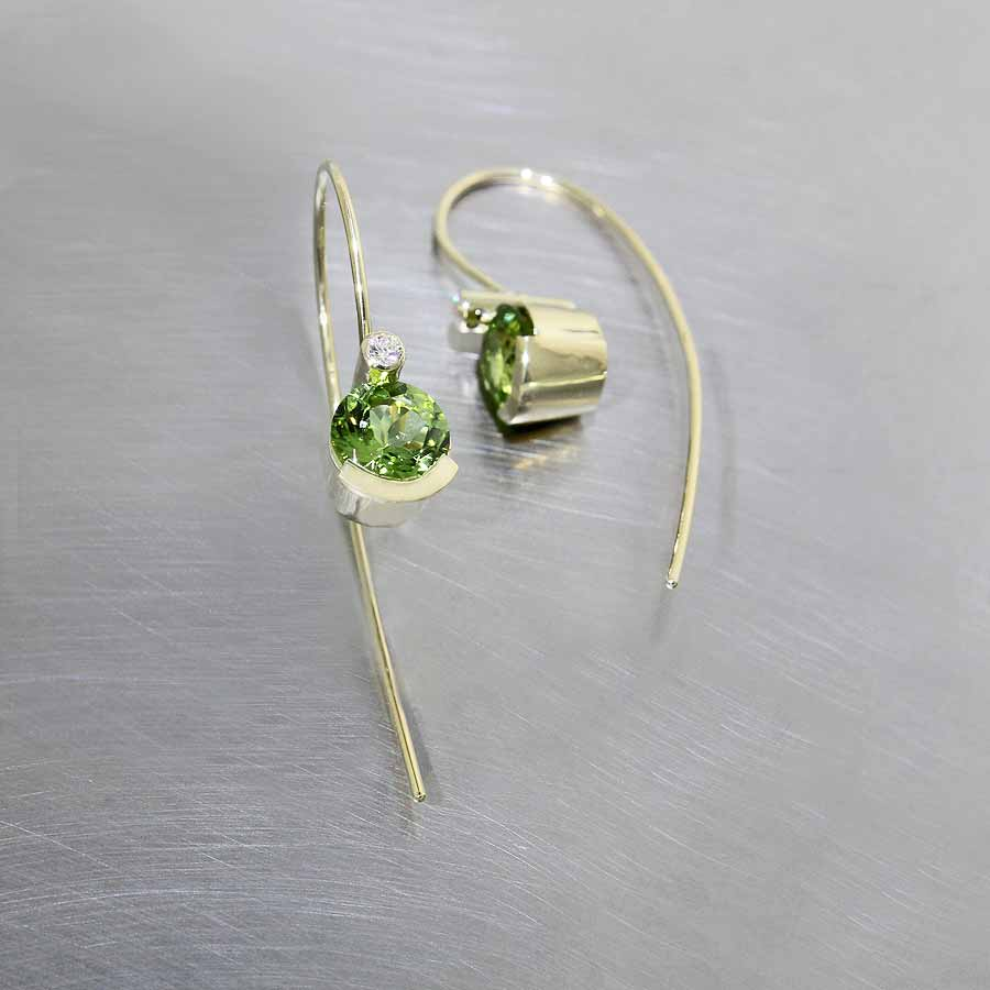 Electric Green Peridot & Diamond Wire Hook Earrings, 18KY Gold
