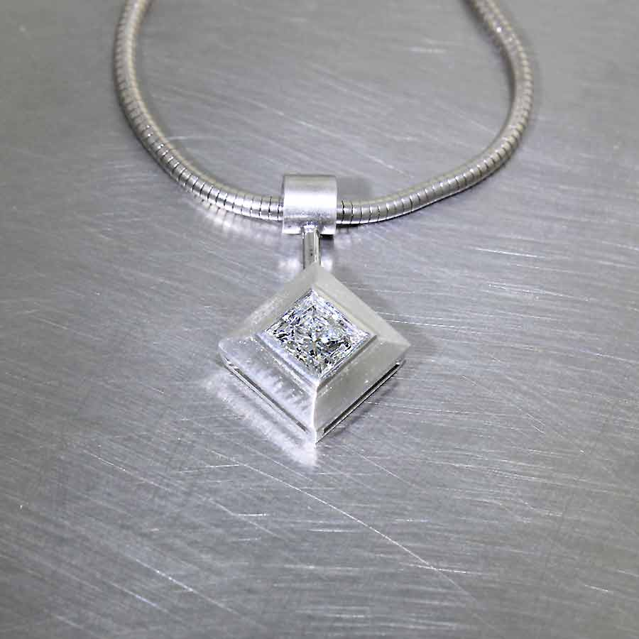 Princess-Cut Diamond in Angular Full-Bezel Pendant, Platinum