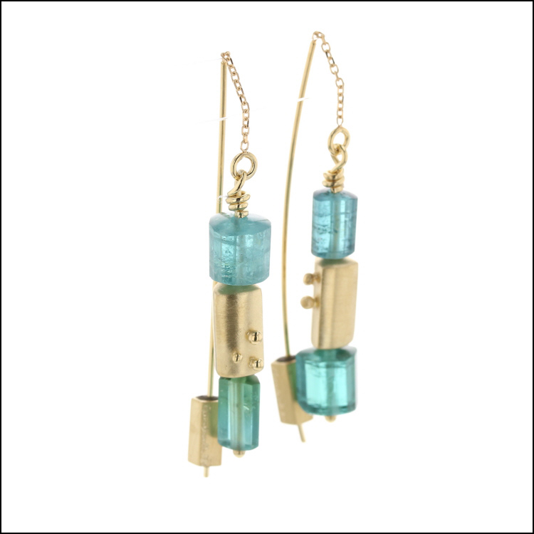 Style #23311124 Green Tourmaline Beads with 18KY Gold Block Threader-Style Earrings