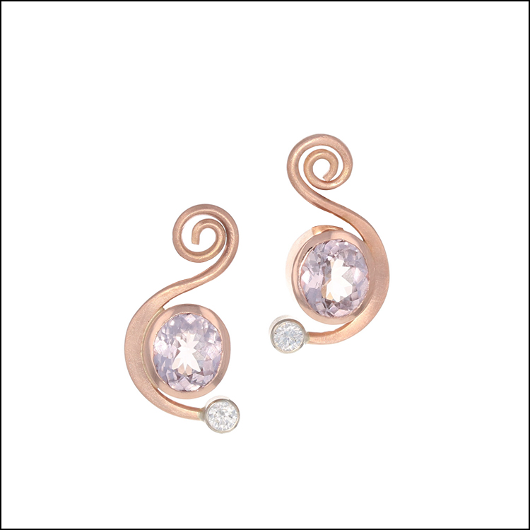 Style #23311109 14KR Light Pink Spinel with Diamond Accents Earrings