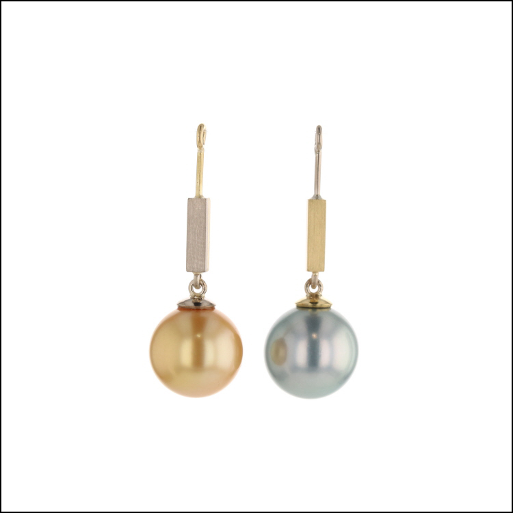 Style #24110717 Reverse Tahitian Pearl and South Sea Pearl Earring Jackets 14KW & 18KY