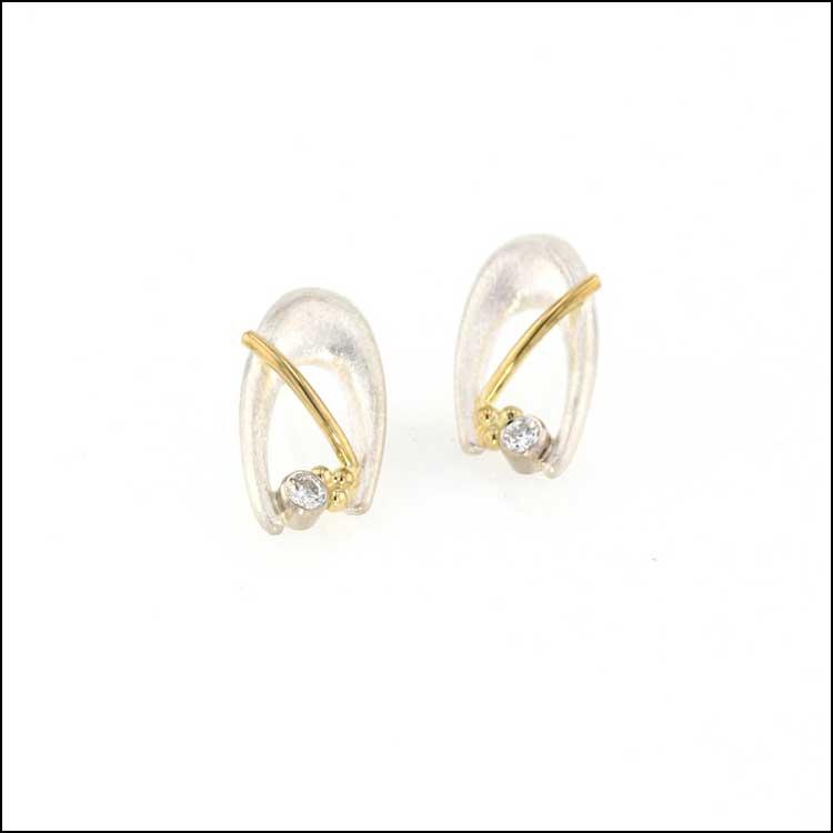 """Style #22110581: Bezel-Set Diamond """"Horseshoe"""" Earrings, Sterling Silver & 18KY"""