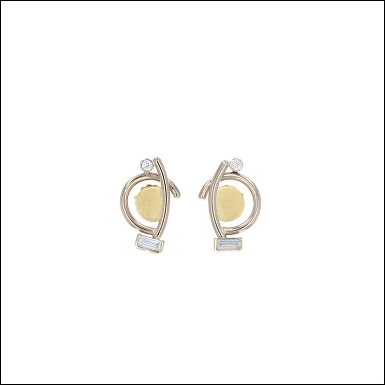 Style #22110583 Petite Diamond Baguette Earrings w/ Round Brilliant Diamond Accents, 18KY & 14KW