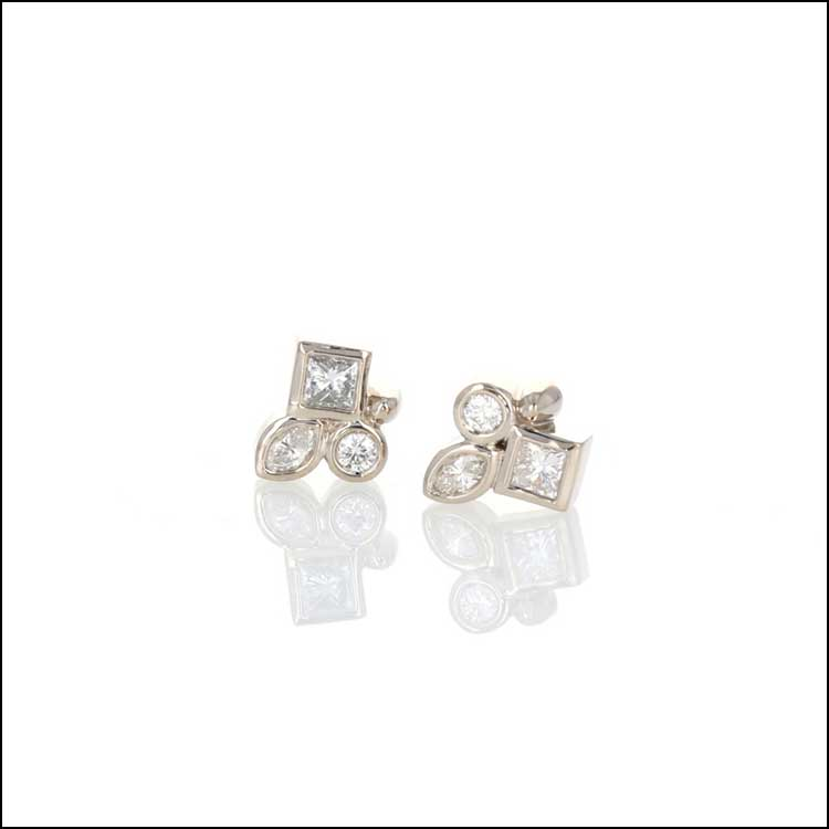 Style # 22110591 Princess, Marquise, and Round Diamond Clusters 14KW Studs