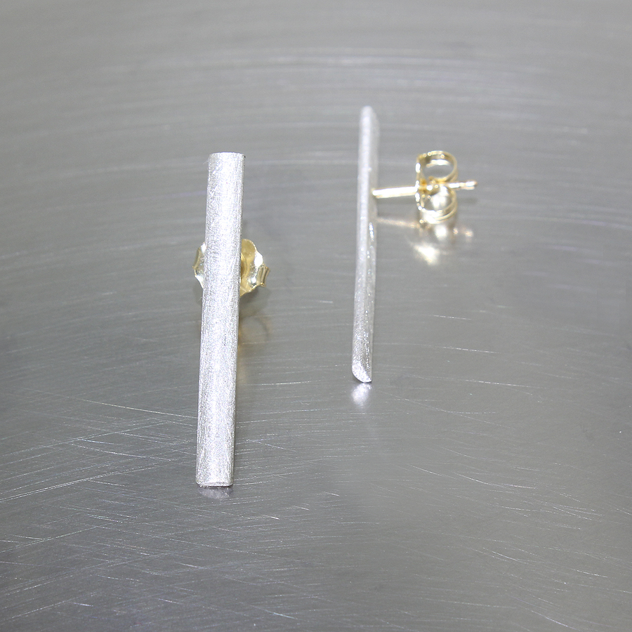 Style #28110445: Subtle, Angular Scratch-Finished Sterling Silver Stick Earrings w/ 18KY Gold Posts & Friction Backs