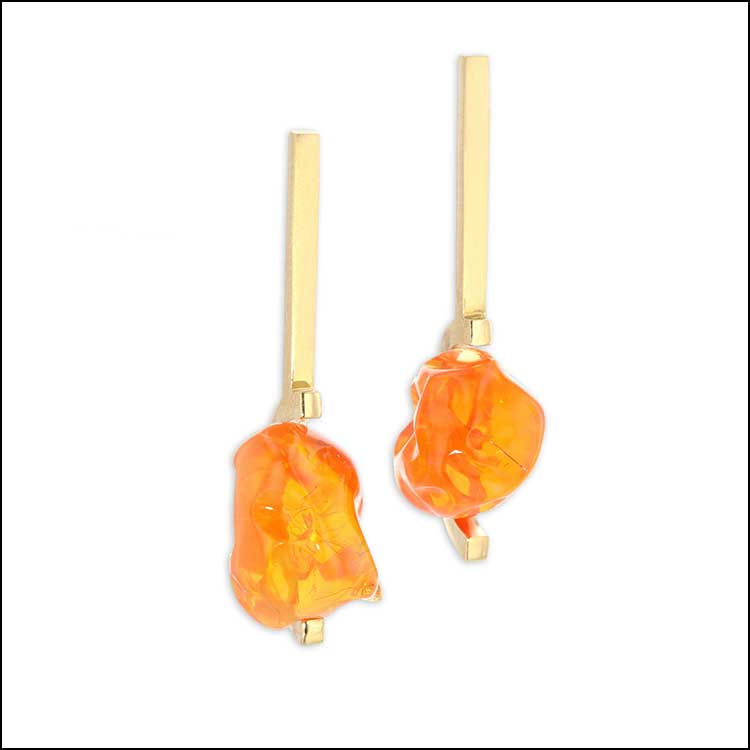 Style #26110067 Electric 18.2CT Edge-Set Fire Opal Earrings, 18KY Gold