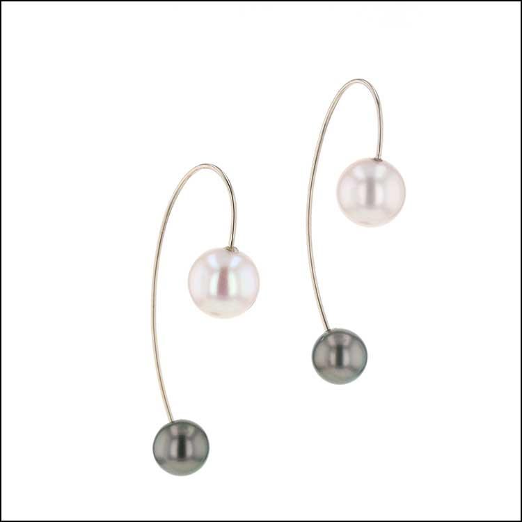"Style #24710095 Freshwater & Tahitian Pearl Wire ""Threader"" Earrings, 14KW"