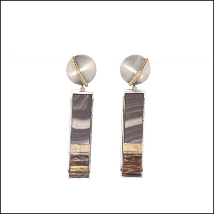 Style #23311107 18KY & SS Composite Rutilated Quartz & Psilomelane Earrings