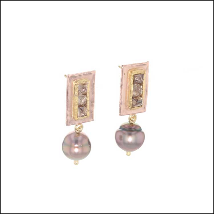 Style #24110714 Natural Brown Diamonds with Tahitian Pearl Dangles set in 14KR, 18KY, 22KY Earrings