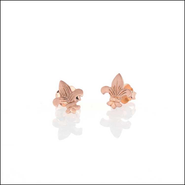 Style #28110472 14K Rose Gold Fleur De Lis Stud Earrings