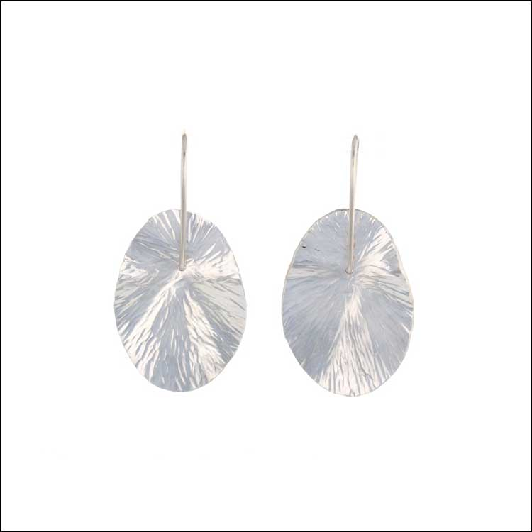 "Style #28110475 SS Radial Hammered Oval ""Lily Pad"" Dangle Earrings"
