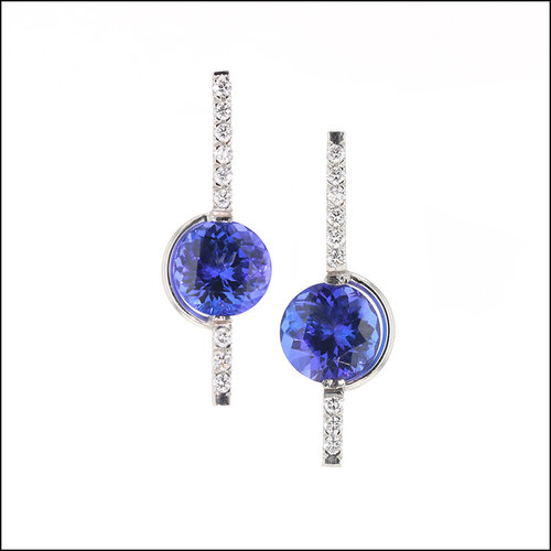 Style #23311111 Tension-Set Tanzanites with Bead-Set Diamond Platinum Earrings