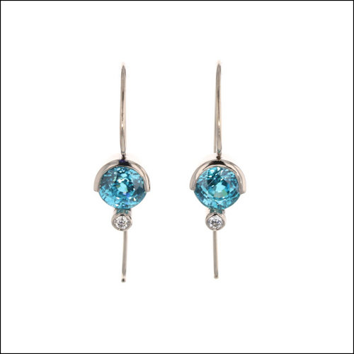 Style #23311113 Blue Zircon Partial Bezel Set 14KW Earrings with Diamond Accents