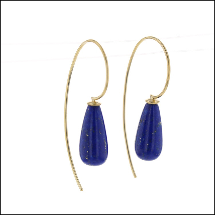 Style #23311117 Smooth Lapis Briolette Drop Earrings, 18KY