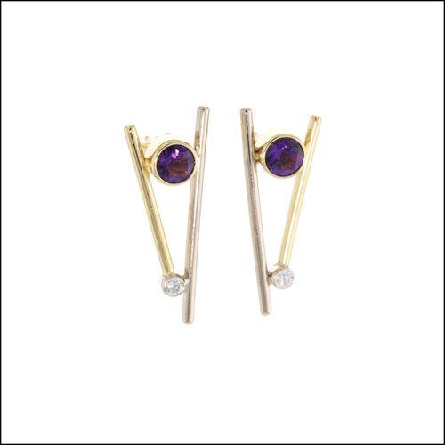 "Style #23311122 Amethyst and Diamond ""Chop-sticks"" Earrings"