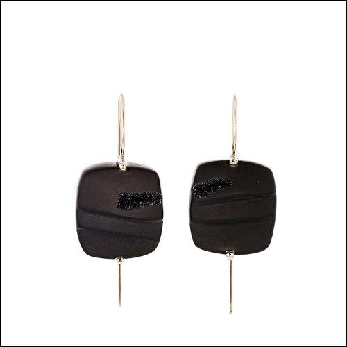 Style #23311083 Black Onyx Druse Wire Drop Earrings, 14KW