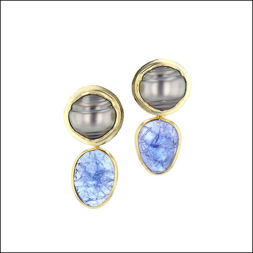 Style #23311100 Cleaved Tahitian Pearl Earrings w/ Removable Tanzanite Drops, 18KY