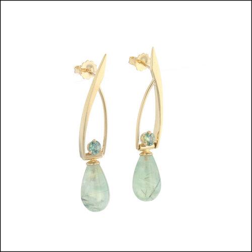 Style #23311106 Prenite Sapphire 18KY Swinging Earrings