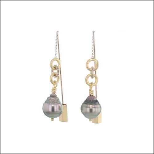 Style #24110718 Tahitian Pearl Threader Earrings 14KW, 18KY