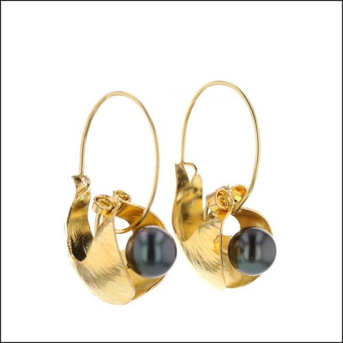 Style #24110719 Tahitian Pearl Earrings 18KY