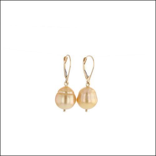 Style #24110707 Golden South Sea Pearl Leverback Drop Earrings, 18KY