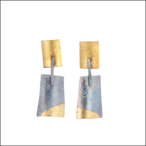 Style #28110473 18KY/Oxidized SS Swinging Trapezoids from Rectangles Earrings