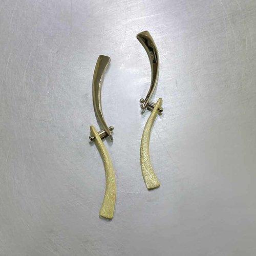 Style# 23311075 Swinging Curvy Bar Dangle Earrings, 18KY & 14KW