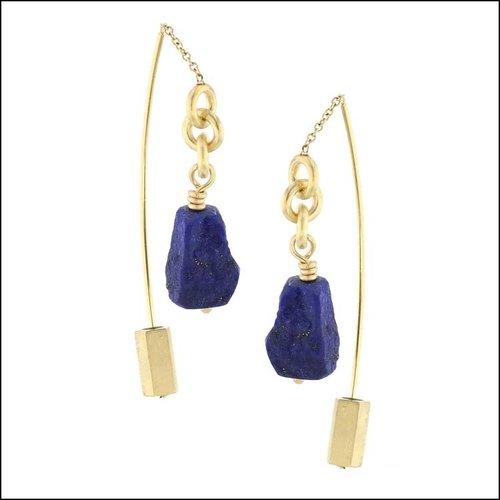 "Style #24110704 Lapis Lazuli ""Threader"" Dangle Earrings, 18KY"