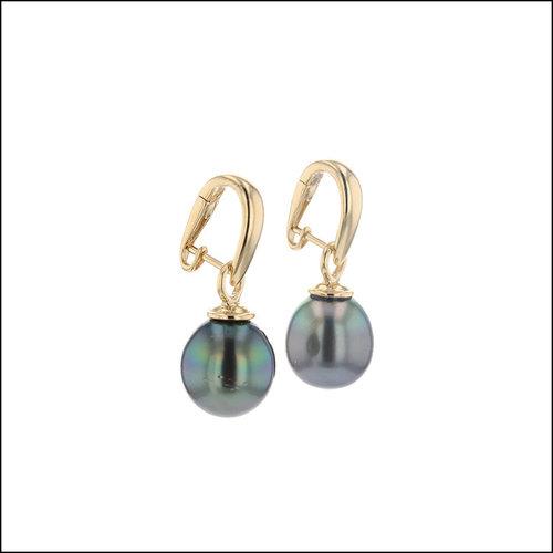 Style #24110704 Tahitian Pearl Hinged Hoop Earrings, 18KY