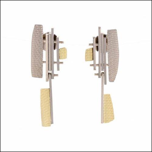 Style #28110466 Swinging, Multi-Textured Sheet & Bar Earrings, 18KY & 14KW
