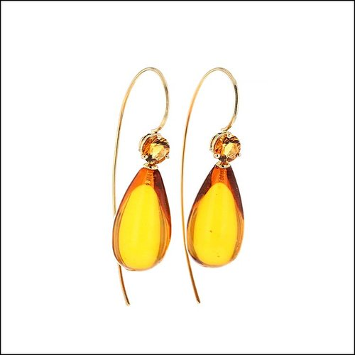 Style #23311081 Amber Briolette & Faceted Citrine Drop Earrings, 18KY