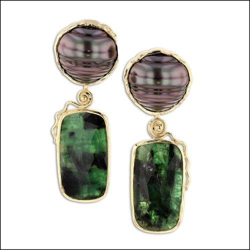 Style #26710029 Cleaved Tahitian Pearl Earrings w/ Rose-Cut Emerald Drops, 18KY