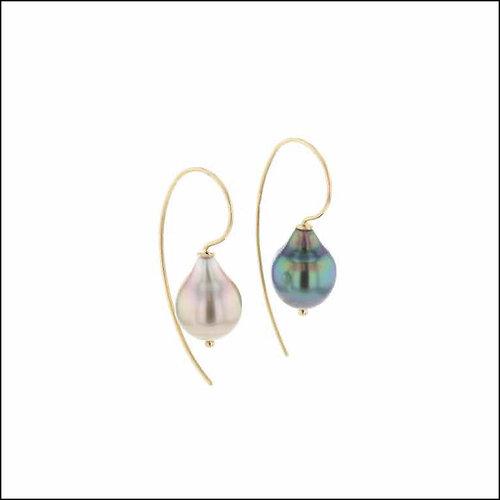 "Style 24110712 ""Night & Day"" Green & Silver Tahitian Pearl Drop Earrings, 18KY"