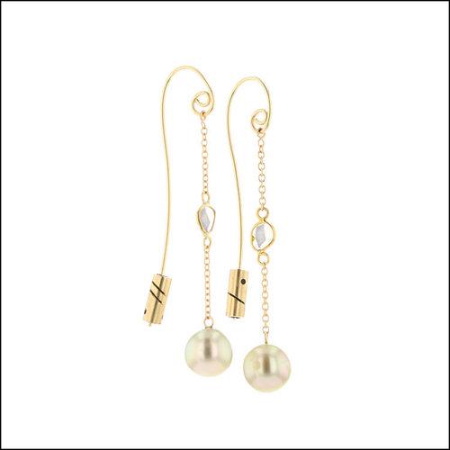 "Style #24110712 Tahitian Pearl & Diamond Slice ""Threader"" Earrings, 18KY"