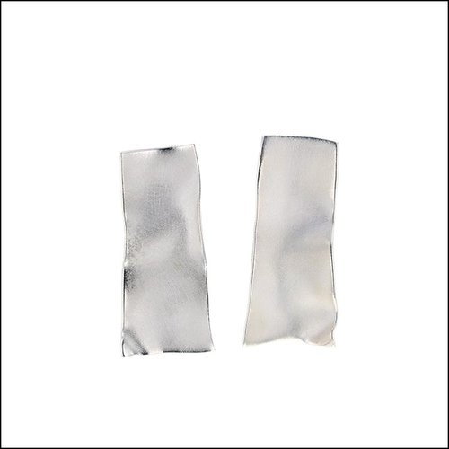 Style #28110463 Sandblast-Textured Rectangular Sheet Earrings, Sterling Silver