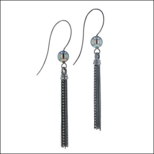 Style #24110711 Tahitian Pearl Earrings w/ Tassel Dangles, Oxidized Sterling Silver