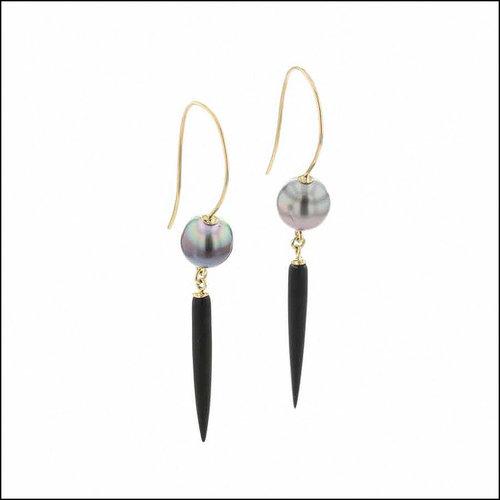 Style #24110713 Tahitian Pearl & Black Onyx Bullet Wire Hook Earrings, 18KY