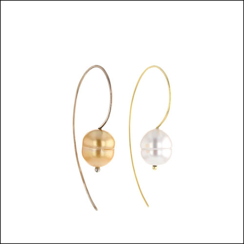 Style #24110710 Wire Hook Dangles Featuring White & Golden South Sea Pearls, 18KY & 14KW