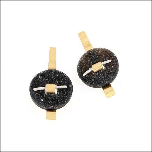 Style #24110710 Black Druse Circle & Ruffle Bar Earrings, 22KY & Platinum