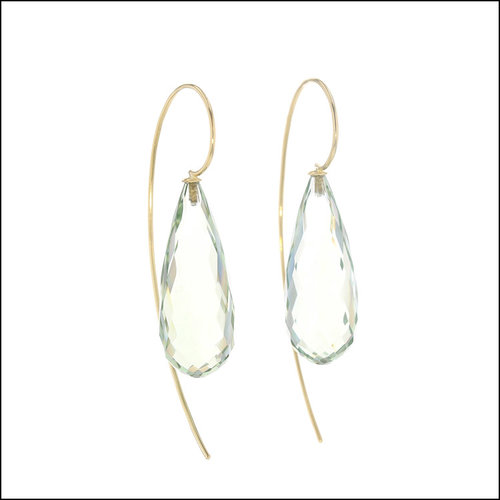 Style #23311093 Green Quartz Faceted Briolette Wire Hook Earrings, 18KY