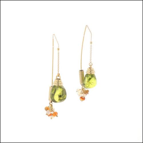 Style #23311102 18KY Peridot & Opal Threader Earrings