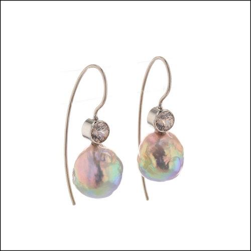 """Style # 24710097 14KW Freshwater """"Fireball"""" Pearl and Zircon Earrings"""