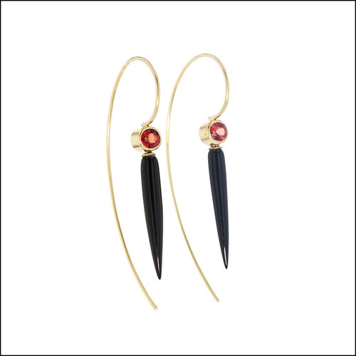 Style #23311092 18KY Red Spinel with Onyx Bullet Dangle Earrings