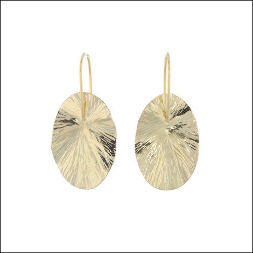 """Style #28110470 18KY Radial Hammered Oval """"Lily Pad"""" Dangle Earrings"""