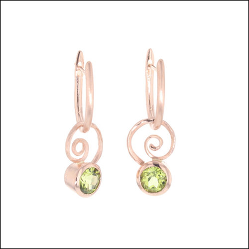 """Style #23311110 14K Rose Gold """"Huggie"""" Earrings with Detachable Peridots"""