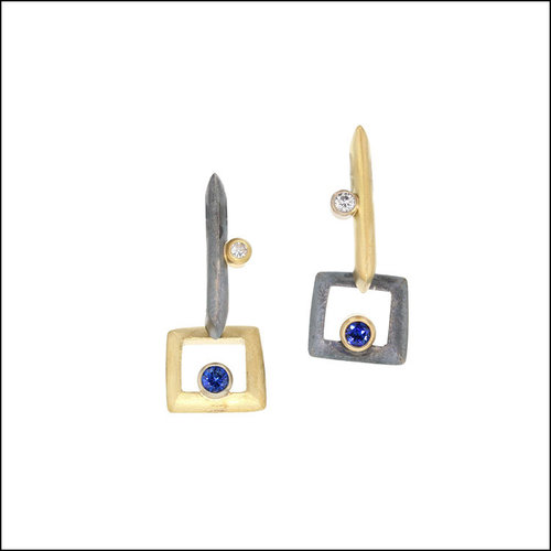 Style #22710189 Sapphire & Diamond Swingy Open-Frame Dangles, 18KY & Oxidized Sterling Silver